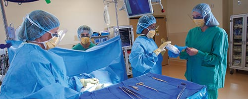 Perioperative nurses preparing a surgical instrument table